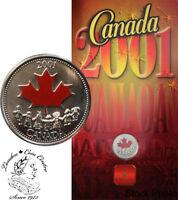 Canada 2001 25 Cent Spirit of Canada Coloured Coin in Folder