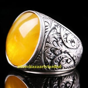 Turkish Handmade 925 Sterling Silver Ruby Red Stone Luxury Mens Ring All Size