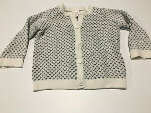 Seed Heritage Long Sleeve Knitted Cardigan Size 00  Button Up Cream & Grey