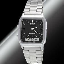 Casio AQ230A-1D Mens Digital Watch Stainless Steel Analog Alarm Black New
