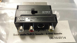 SCART 20pin Male to RCA + S-Video Female Composite Audio Video Converter Adapter