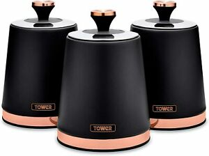 Tower T826131BLK Cavaletto Kitchen Storage Canisters, Black & RG, New & Sealed