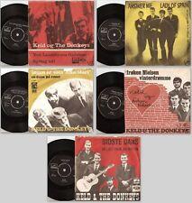 """KELD AND THE DONKEYS """"5"""" ORIGINAL DANISH 45s & PICTURE SLEEVES - DK BEAT PIGTRÅD"""