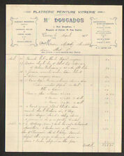 "CASTRES (81) PLATRERIE / PEINTURES & VITRERIE ""H. DOUGADOS"" en 1931"