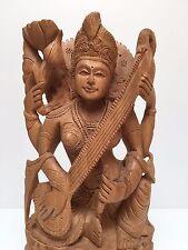 Fairtrade Handmade Carved Rare Wooden Hindu Goddess Saraswati Indian Sculpture