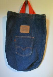 VTG Levis Strauss Jean Dark Denim Wash Tote Purse Hand Bag 14x19 Orange Handles