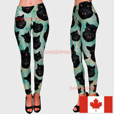 Turquoise Panthers soft leggings - S-M - stretchy animals print cats black weird