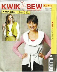 Kwik Sew Sewing Pattern Waistcoats Vests Waterfall Lapel XS-XL Ladies 3717 Uncut