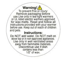 2-In Round ~ Wax Melts Burn Warning Stickers Labels Caution Instructions