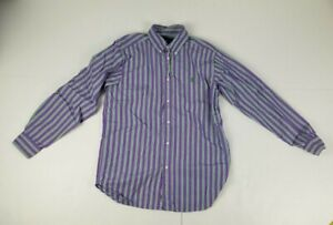 Ralph Lauren Button Down Long Sleeve Shirt Boy's Youth Large Purple Striped
