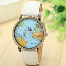Fashion Men Women Watch Denim Leather World Map Dial Analog Quartz Wrist Watches
