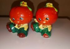 VINTAGE PORCELAIN ANTHROPOMORPHIC TOMATO PEOPLE SALT AND PEPPER SHAKERS