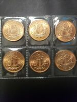 United Kingdom lot of 12 circulated 1964 1/2 penny's bronze 25.4mm...