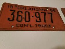 1968 oklahoma license plate com'l truck