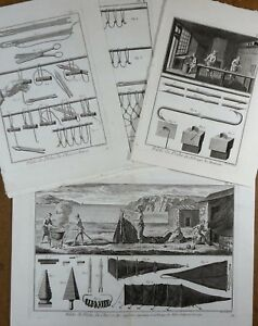 Lot Gravures Antique Print XVIIIe Pêche Chasse Filets Hameçons Diderot In-4°