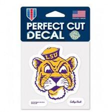 "LSU Tigers 4"" x 4"" Retro Logo Truck Car Auto Window Die Cut Decal Team Colors"