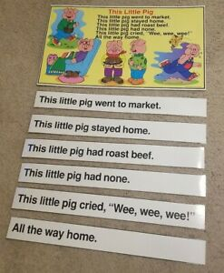 This Little Pig Laminated Nursery Rhyme/Song Teacher Poster with Sentence Strips