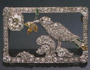 Mid-Century Vintage Style Leaf,Sparrow With Cubic Zirconia & Citrine Fine Brooch