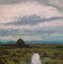 New Signed Landscape Marsh Original Oil Painting Impressionist tonalism Farm