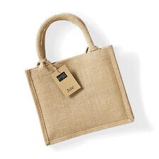 Westford Mill Jute Mini Gift Bag Ladies Tote Shopper Natural Handbag (W412)
