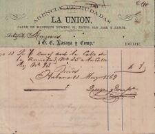 E4297 SPAIN ANTILLES1869. OLD INVOICE AGENCIA DE MUDANZAS LAUNION.
