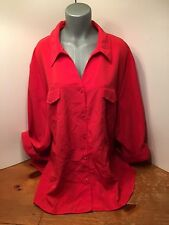 Maggie Barnes Beautiful Shade of Reddish Orange Tunic Top Rhinestones too!  4X