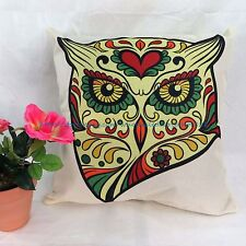 US SELLER - pillow case for sofa sugar skull owl cushion cover green yellow red