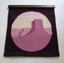 Mid Century Hippie Purple Monument Valley Wool Tapestry Wall Hanging