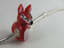 MURANO SINGLE SILVER CORE ANIMAL BEAD FOX EUROPEAN STYLE CHARM BRACELETS-AB 111