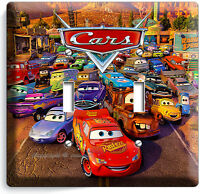 CARS 2 MCQUEEN DISNEY MOVIE DOUBLE LIGHT SWITCH PLATE BOYS GAME ROOM DECORATION