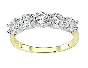9ct Gold on Silver 5 Stone Eternity Ring -  All Sizes Available