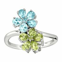 2 ct Natural Swiss Blue Topaz & Peridot Flower Ring in Rhodium Over Silver