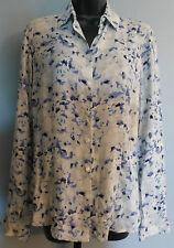 VANHEUSEN Women's Button Down Blue Gray Splatter Print Blouse Shirt Size 5