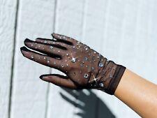 Womens Mesh Sheer Gloves Rhinestones Sunscreen Bridal Wedding Opera Sexy Gloves