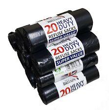 More details for 100 heavy duty black refuse sacks bin bag rolls bin liners ** british made **