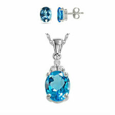 2 tcw Cut Blue Sapphire Round Stud Necklace 18K White Gold Plated Pendant Set