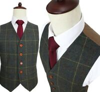 Men's Dark Green Strip Herringbone Tweed Formal Business Waistcoats  Casual Vest