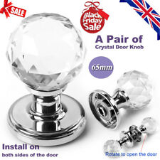 2x Large Crystal Glass Door Knobs Handles Internal Mortice Polished Chrome 65mm