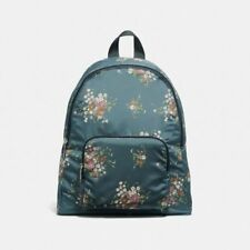 New Coach F27977 Packable Backpack With Floral Bundle Print Midnight Multi