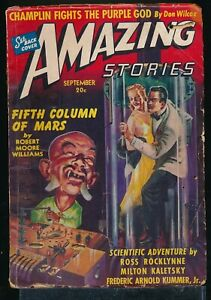 AMAZING STORIES September 1940 Science Fiction Pulp GGA Asian Menace Cover