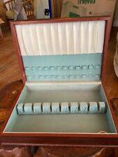 Vtg International Silver Co Flatware Silverware Wood Storage Chest Case box