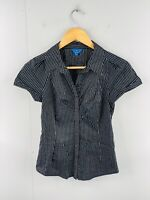 Cue Womens Short Sleeve Button Up Stretch Shirt Size 6 Black Stripe