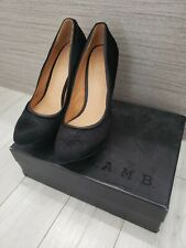 L.a.m.b Nikko black pump with calf hair and leather trim