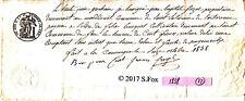 Billet a Ordre bon au porteur manuscrit timbre royal sec& humide 1838 lot 22