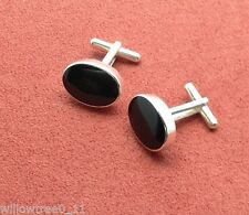 Whitby jet and sterling silver cufflinks jcf01 hand made in whitby