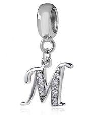 Pandora Sterling Silver Charm Letter M Dangle Pendant Charm Beautiful Letters