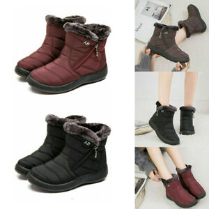 Womens Waterproof Fur Lined Snow Ankle Boots Ladies Winter Warm Flat Shoes Size