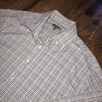 Peter Millar Summer Comfort Golf Stretch White Plaid Button Shirt Mens Large