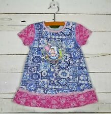 Girls OILILY Sz 86 - 24m Blue Pink s/s Cotton Dress Home is Where the Heart Is
