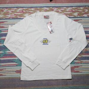 Jimmie Johnson Shirt Ladies Large White V Neck Long Sleeve Nascar Mens